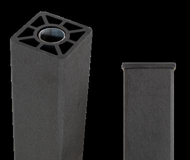 Plus WPC Pfosten m/Stahlkern 90x90mmx 98cm Schiefergrau gebürstet