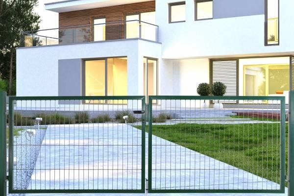 Doppelgartentor für Doppelstabmatte grün (RAL 6005) - zweiflügelig
