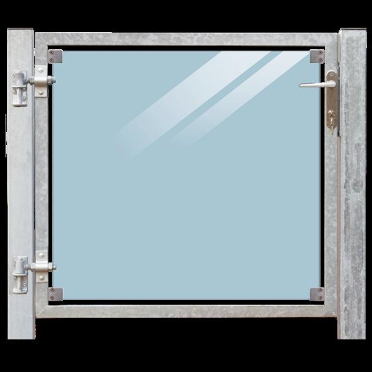 Plus Glas Terrassen Tor links 99x91 cm. + 16 cm. Pfosten z/Einbetonieren. Laminiertes klares Glas.