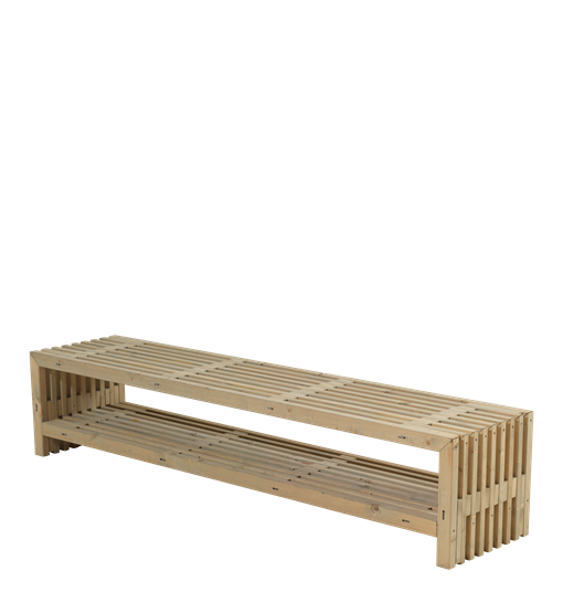 Plus Rustik Lattenbank Design 218x49x45cm m/Regal - farbgrundiert Treibholz