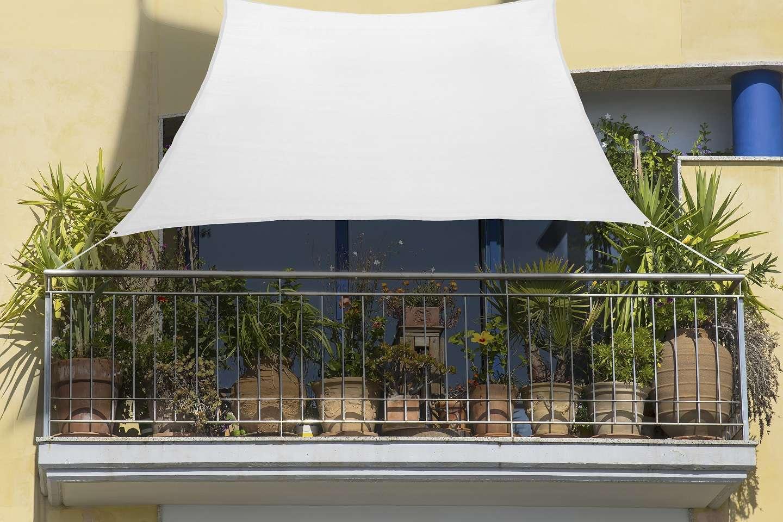 balkon sonnensegel 270 x 140cm weiss aus schattierungsgewebe hdpe sonnensegel wind und wasserdurchlassig balkonsonnensegel sonnensegel holidaygarden