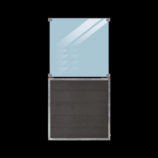 Plus Futura WPC Zaun mit Glas - 90x180 cm