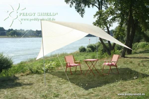 Camping-Freizeit-Sonnensegel 400 x 400 cm - Farbe hell elfenbein