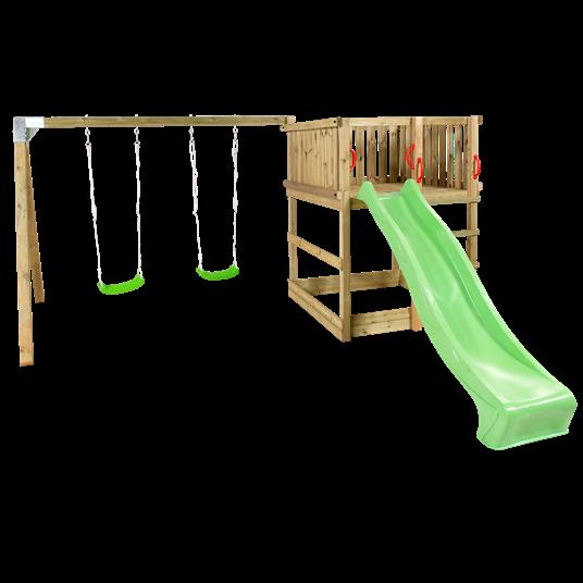 Plus Play Spielturm mit Schaukelständer einschl. grüner Rutsche