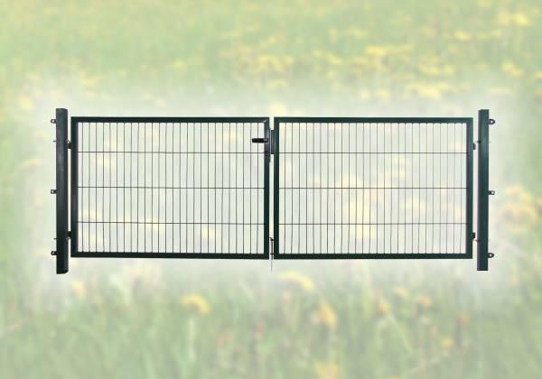 Doppelgartentor für Stabmatte grün (RAL 6005) zweiflügelig