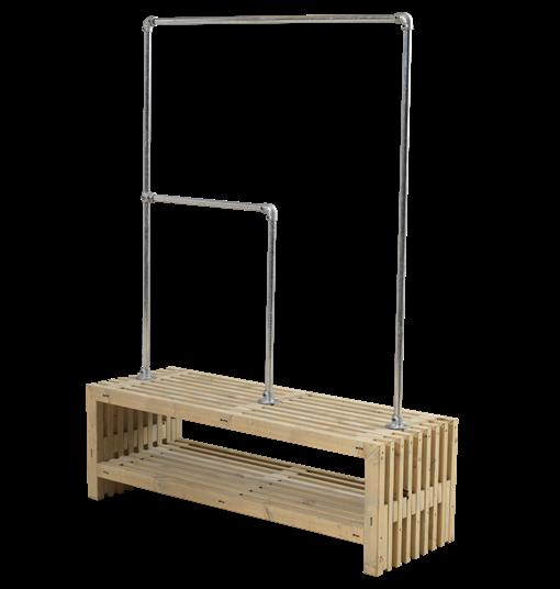 Plus Rustik Latten Garderobe Design 138x49x45 cm farbgrundiert Treibholz