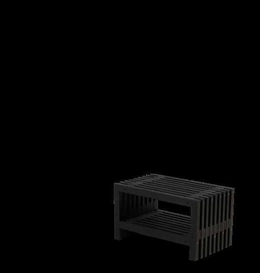 Plus Rustik Lattenhocker Design 80x49x45cm m/Regal - farbgrundiert schwarz