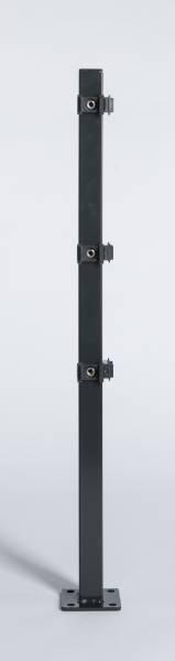 Eckpfosten mit Montageplatte für Stab- u. Doppelstabmatte anthrazit (RAL 7016)
