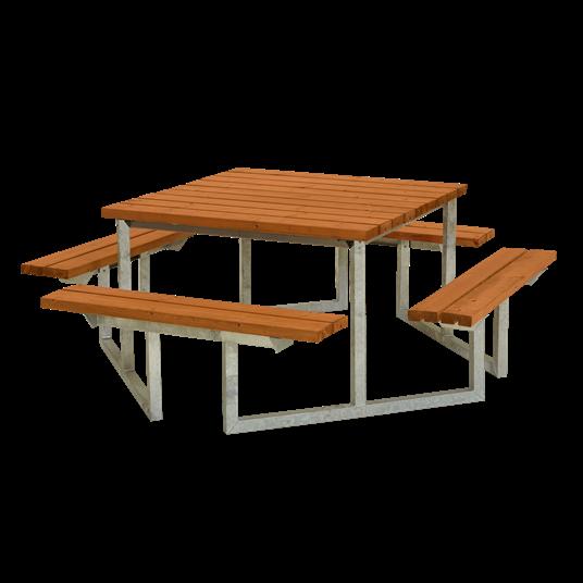 Plus Twist Sitzgruppe 204x204x73/45 cm. Farblich behandelt teak