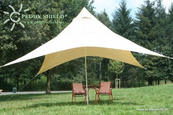 Camping-Freizeit-Sonnensegel Pyramide 400 x 400 cm - Farbe hell elfenbein