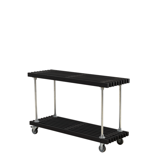 Plus Latten Grill-/Beistelltisch mit Rädern 140x49x90 cm - schwarz