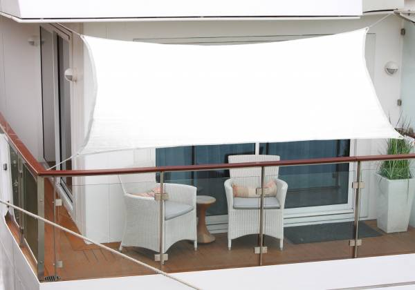 Balkon-Sonnensegel 270 x 140cm weiß Polyesterstoff