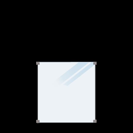 Plus Glaszaun 90x91cm inkl. 4 runde Beschläge, 8,76mm Sicherheitsglas satiniert