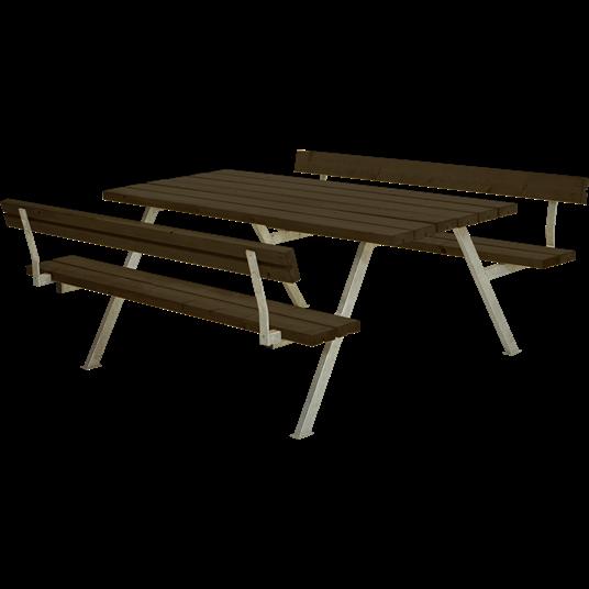 Plus Alpha Sitzgruppe m/2 Rückenlehnen 177x185x73/45 cm - Farblich behandelt schwarz