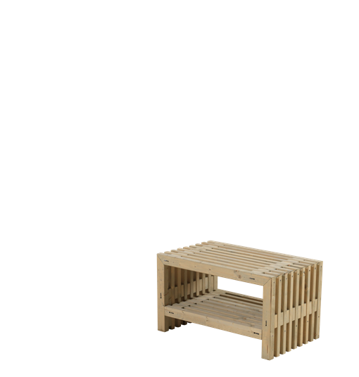 Plus Rustik Lattenhocker Design 80x49x45cm m/Regal - farbgrundiert Treibholz