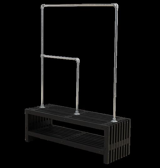 Plus Rustik Latten Garderobe Design 138x49x45 cm farbgrundiert schwarz