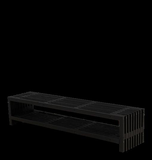 Plus Rustik Lattenbank Design 218x49x45cm m/Regal - farbgrundiert schwarz