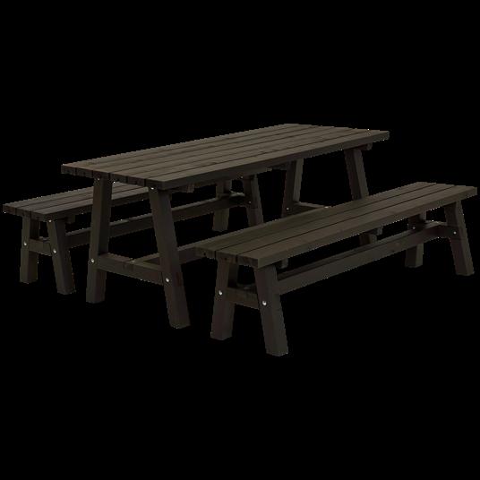 Plus Country Plankenset - bestehend aus 1 Tisch und 2 Bänken - Farblich behandelt schwarz