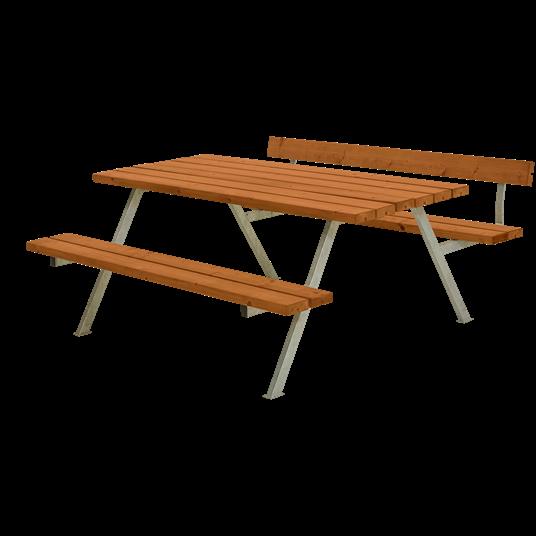 Plus Alpha Sitzgruppe m/1 Rückenlehne 177x173x73/45 cm. Farblich behandelt teak