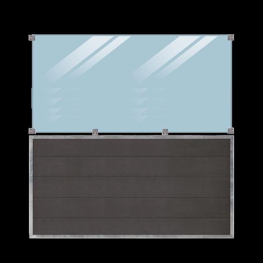 Plus Futura WPC Zaun mit Glas - 180x180 cm