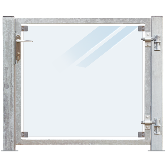Plus Glas Terrassen Tor rechts 99x91 cm. + 16 cm. Pfosten z/Aufdübeln Laminiertes satiniertes Glas