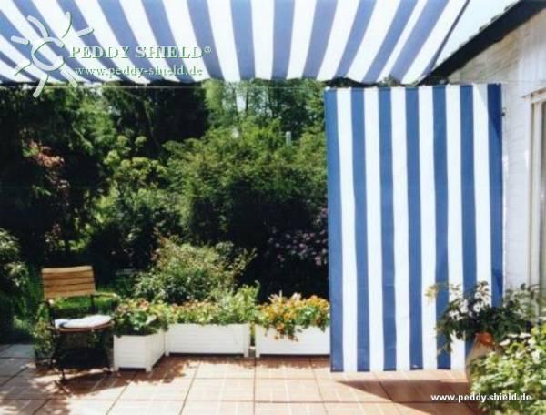 Senkrecht-Sonnensegel 230 x 140 cm - Farbe blau-weiß