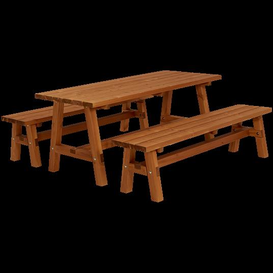 Plus Country Plankenset - bestehend aus 1 Tisch und 2 Bänken - Farblich behandelt teak