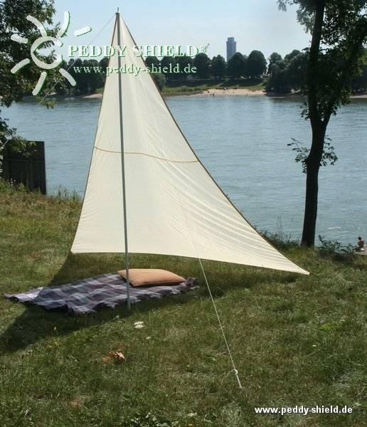 Camping-Freizeit-Sonnensegel 300 x 300 x 250 cm - Farbe hell elfenbein