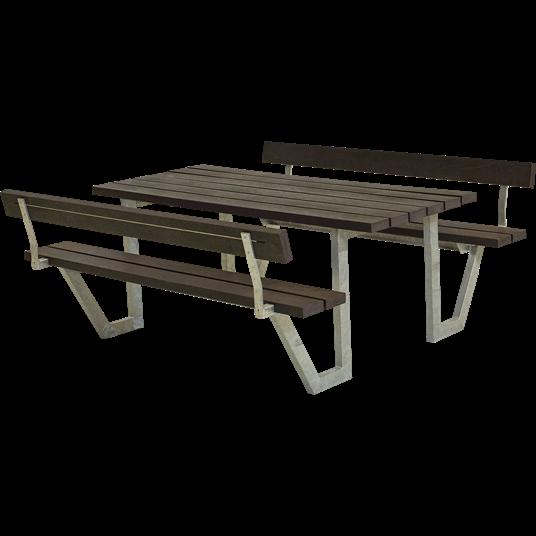 Plus Wega Sitzgruppe m/2 Rückenlehnen 177x185x73/45 cm. recycelter Kunststoff schwarz