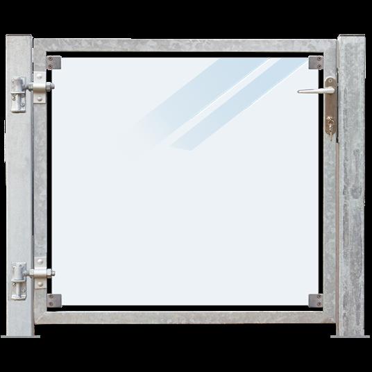Plus Glas Terrassen Tor links 99x91 cm. + 16 cm. Pfosten z/Aufdübeln Laminiertes satiniertes Glas