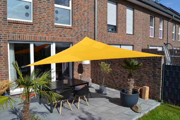 Dreiecksonnensegel 360 cm - Polyester - Farbe sonnengelb
