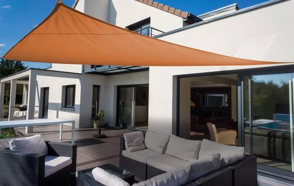 Dreiecksonnensegel 460 cm - Polyester - Farbe terracotta