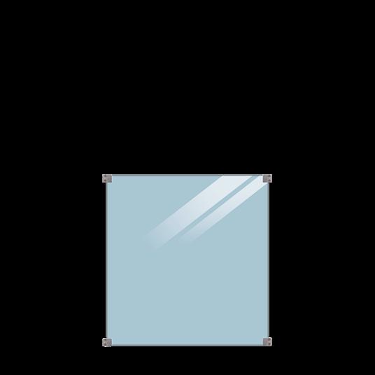 Plus Glaszaun 90x91cm inkl. 4 runde Glasbeschläge, 6mm gehärtetes Glas klar