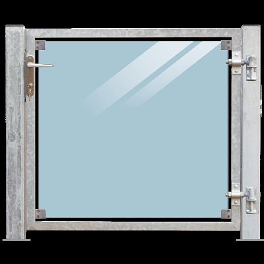 Plus Glas Terrassen Tor rechts 99x91 cm. + 16 cm. Pfosten z/Aufdübeln Laminiertes klares Glas.
