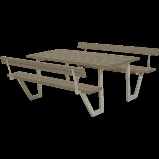 Plus Wega Sitzgruppe m/2 Rückenlehnen 177x185x73/45 cm. Farblich behandelt graubraun