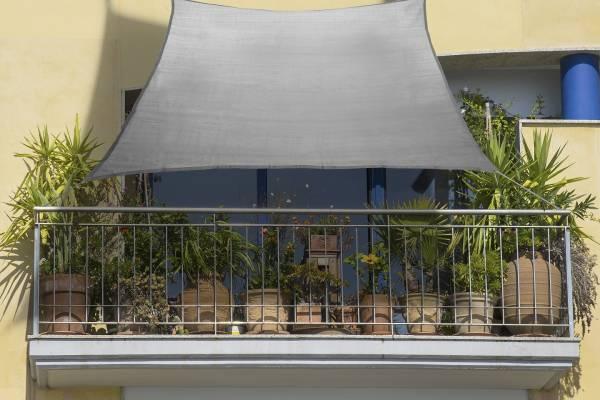Balkon-Sonnensegel grau HDPE