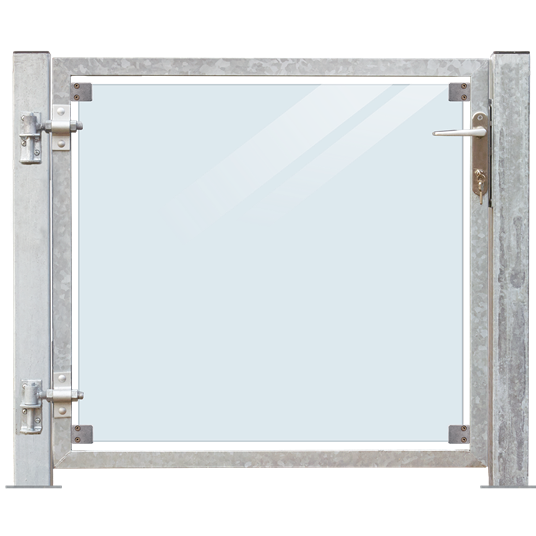 Plus Glas Terrassen Tor links 99x91 cm. + 16 cm. Pfosten z/Aufdübeln Laminiertes klares Glas.