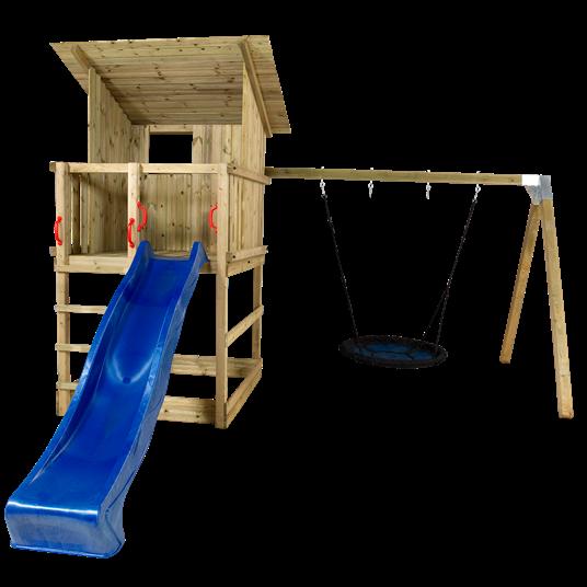 Plus Play Spielturm m/Dach und Schaukelständer einschl. blauer Rutsche