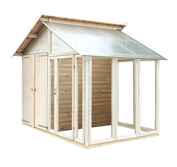 Plus Gerätehaus mit Glasanbau